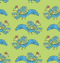 Primitive drawing birds cartoon seamless pattern vector