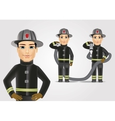 Firefighter in black uniform with fire hose vector