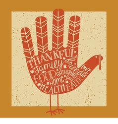 Thanksgiving card with hand print turkey vector