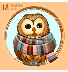 Sad owl in a warm scarf cartoon series vector