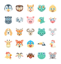Birds and animals faces-2 vector