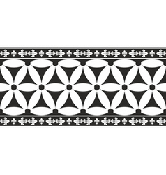 Black-and-white gothic geometrical floral border vector image vector image