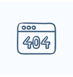 Browser window with 404 error sketch icon vector image vector image