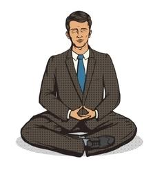 Businessman meditation cartoon pop art style vector