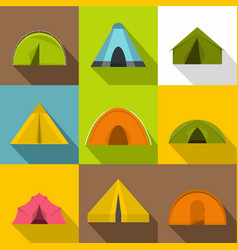 camp tent icons set flat style vector image vector image