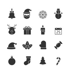 Christmas black icons set vector