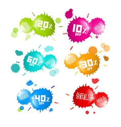 Colorful Sale Blots Icons Set vector image vector image