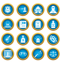 Crime and punishment icons blue circle set vector