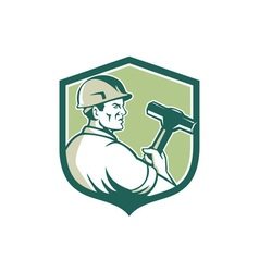 Demolition worker sledgehammer shield retro vector