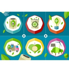 Eco icons green battery car vector