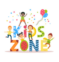 Flat cartoon kid zone banner poster design vector