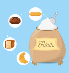 Flour ingient bakery bread vector