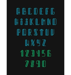 Font the monogram in thin lines hipster set vector