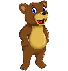 funny bear cartoon smiling vector image vector image