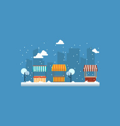 Landscape of street shop with snow vector