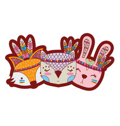 Line color cute animals head friends with feathers vector