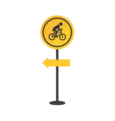 Pole with road sign with ride bike symbol vector