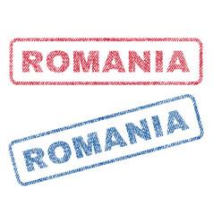 Romania textile stamps vector