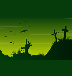 Scary landscape graveyard on halloween vector