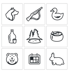 Set of hunting icons dog gun duck vector