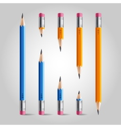 Short and long pencil set vector image vector image