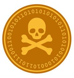 Skull and crossbones digital coin vector