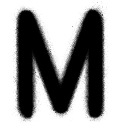 sprayed M font graffiti in black over white vector image