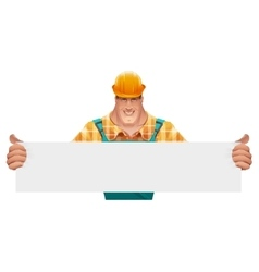 Strong male worker holding blank banner man in vector