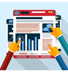 Web site seo analytics charts on screen of PC vector image vector image