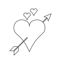 Isolated arrow through heart design vector