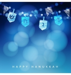Anukkah blue background with string of light and vector