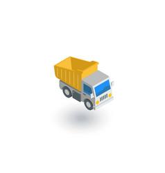 Dump truck isometric flat icon 3d vector