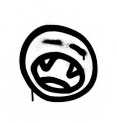 Graffiti shouting emoji with teeth in black vector