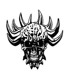 Skull of a demon with crown of thorns vector