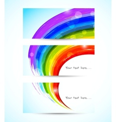 Set of rainbow banners vector