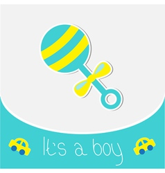 Blue rattle baby boy shower card vector
