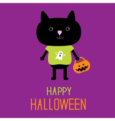 Cat with halloween trick or treat pumpkin bucket vector