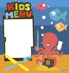 Kids menu with treasures theme vector