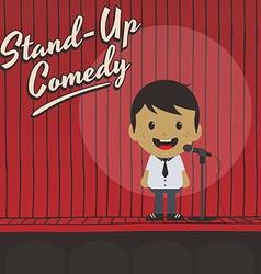 Male stand up comedian cartoon character vector
