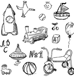 Baby child toys set hand drawn sketch isolated on vector