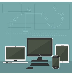 Modern digital devices and computers set vector