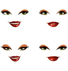 Set of beautiful female visage with stylish makeup vector