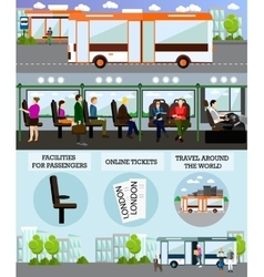 Bus travel passengers concept banner vector