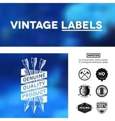 Vintage premium labels set on tile structured vector