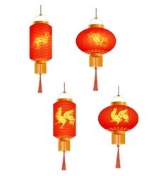 A set of orange Chinese Lanterns Sakura and the vector image vector image