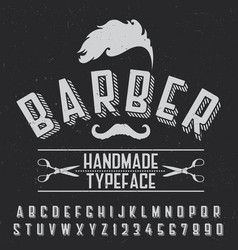 barber handmade typeface poster vector image vector image