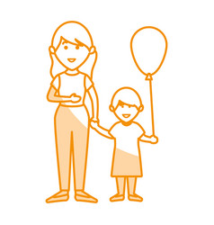 Beautifull mother with daughter avatar character vector