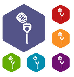 Car key with remote control icons set vector