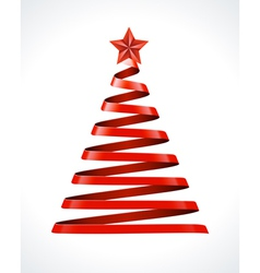 Christmas tree from ribbon design element vector image