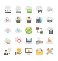 cloud computing icons set 3 vector image
